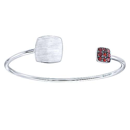 Gabriel - 925 Silver Garnet Engravable Bangle