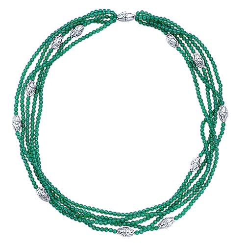 925 Silver Green Onyx Diamond By The Yard Necklace angle 2