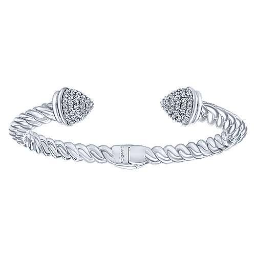 925 Silver Hampton Hinged Cuff Bangle angle 1