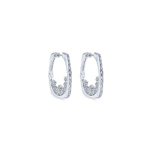 Gabriel - 925 Silver Hoops Intricate Hoop Earrings