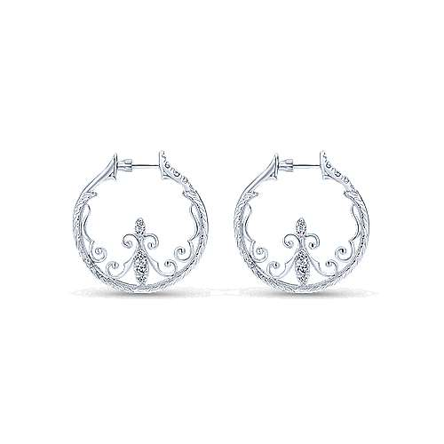 925 Silver Hoops Intricate Hoop Earrings angle 2