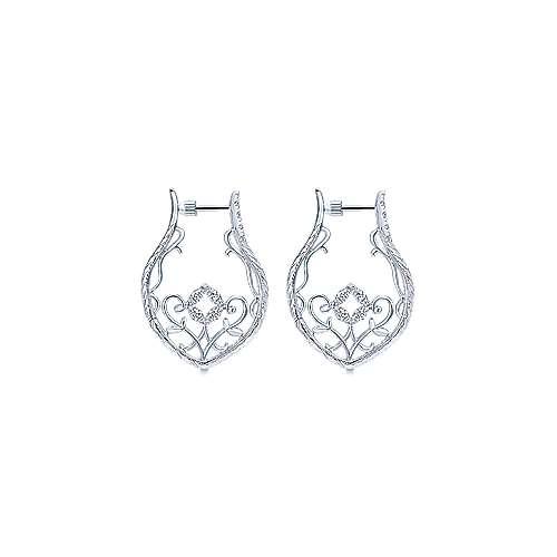 925 Silver Hoops Intricate Hoop Earrings angle 2