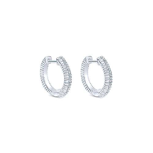 925 Silver Huggie Earrings angle 1