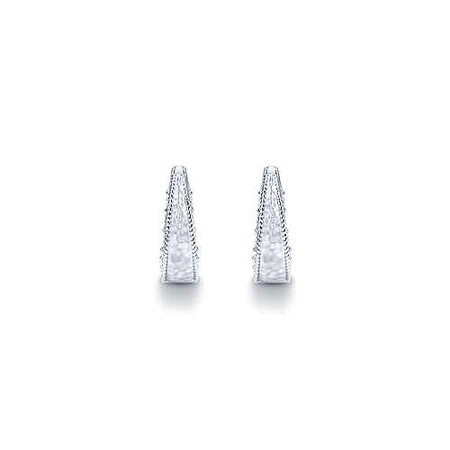 925 Silver Huggie Earrings angle 3