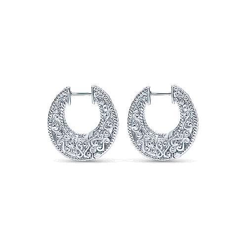 925 Silver Huggies Huggie Earrings angle 2