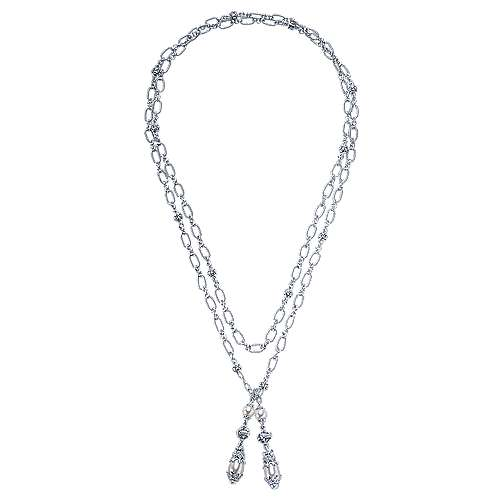 925 Silver Infinite Gems Lariat Necklace angle 2