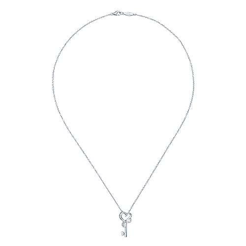 925 Silver Keys Fashion Necklace angle 2