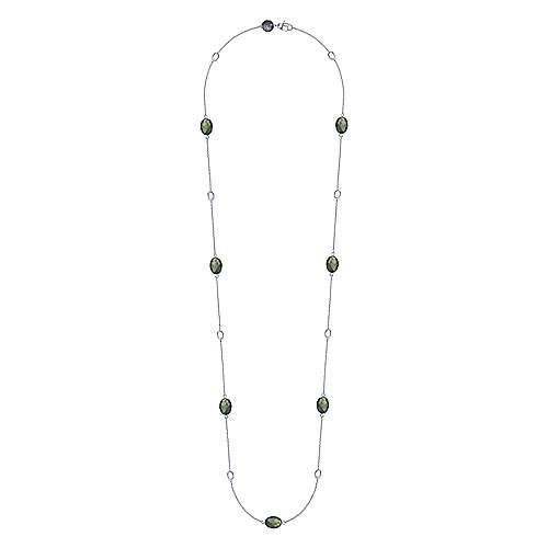 925 Silver Labradorite Diamond By The Yard Necklace angle 2