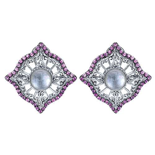 925 Silver Mediterranean Stud Earrings angle 1