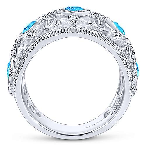 925 Silver Mediterranean Wide Band Ladies' Ring angle 2