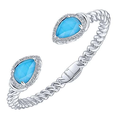 925 Silver Multi Color Stones Bangle angle 2