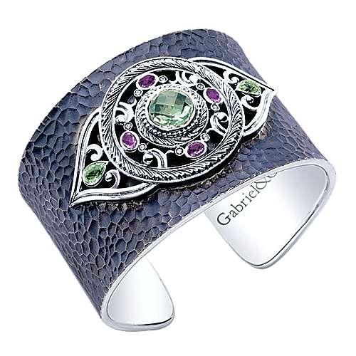 925 Silver Multi Color Stones Cuff Bangle angle 2