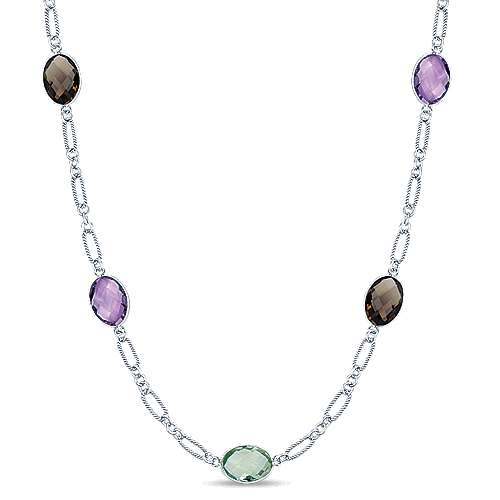 925 Silver Multi Color Stones Diamond By The Yard Necklace angle 1