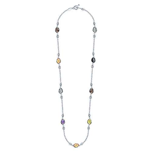 925 Silver Multi Color Stones Diamond By The Yard Necklace angle 2