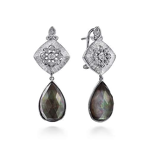 925 Silver Multi Color Stones Drop Earrings angle 1