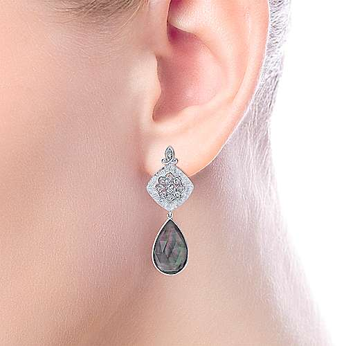 925 Silver Multi Color Stones Drop Earrings angle 2
