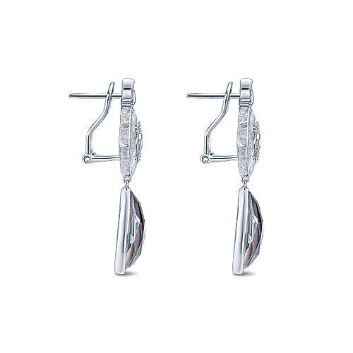 925 Silver Multi Color Stones Drop Earrings angle 3