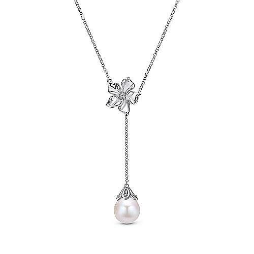 Gabriel - 925 Silver Floral Lariat Necklace
