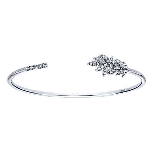 925 Silver Nature Inspired White Sapphire Bangle angle 1