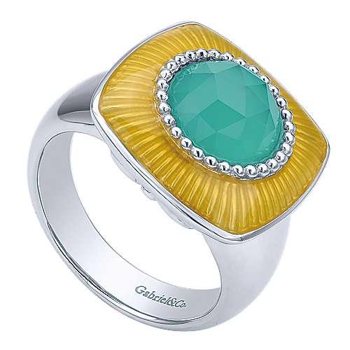 925 Silver Patina Fashion Ladies' Ring angle 3