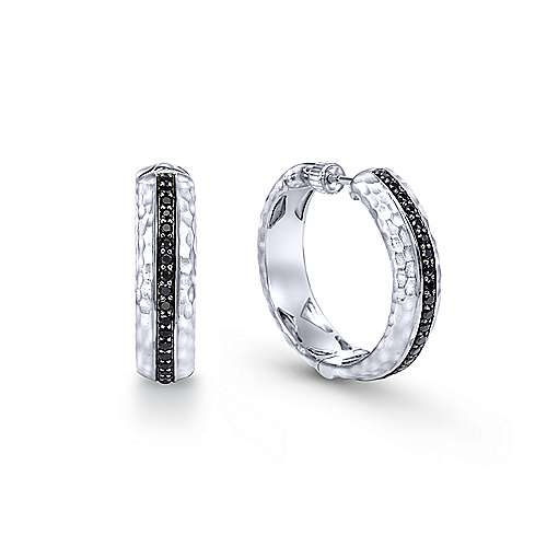 925 Silver Pave (0.66ct.) 20mm Round Black Diamond Hoop Earrings