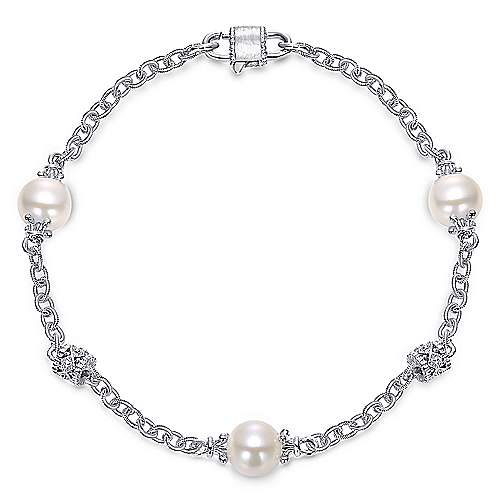 925 Silver Pearl Chain Bracelet angle 1