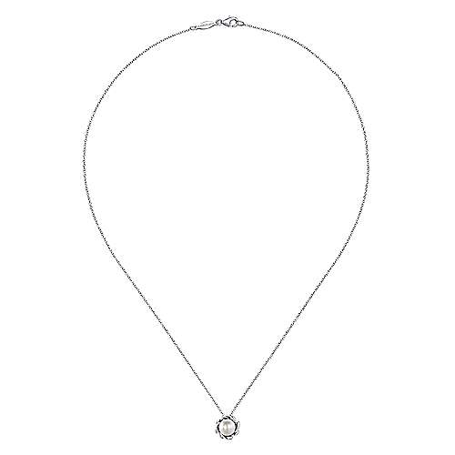 925 Silver Pearl Necklace angle 2
