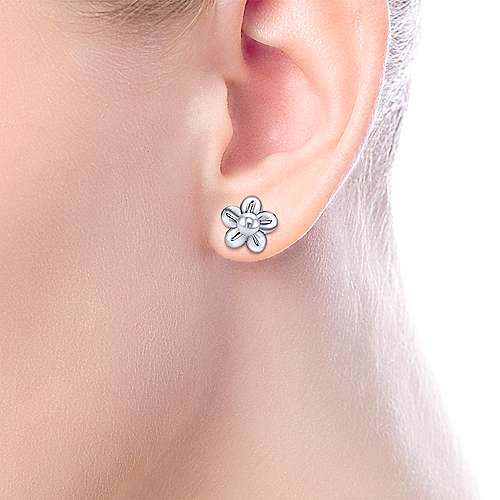 925 Silver Pearl Stud Earrings angle 2