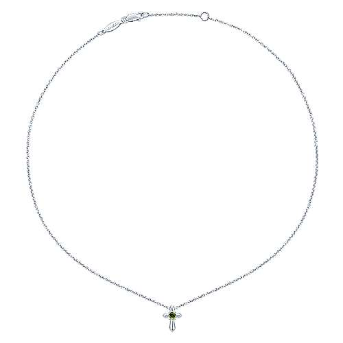 925 Silver Peridot Cross Necklace angle 2