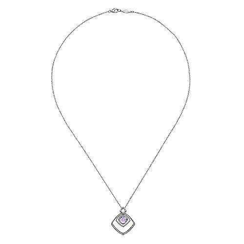 925 Silver Pink Amethyst Fashion Necklace angle 2