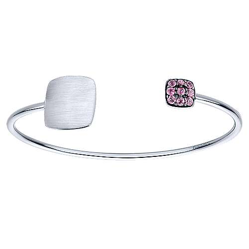 925 Silver Pink Zircon Engravable Bangle