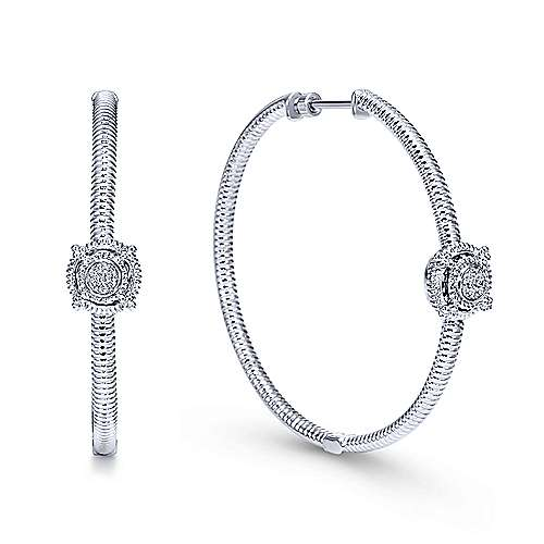 925 Silver Prong Set (0.08ct.) 40mm Round Classic Diamond Hoop Earrings