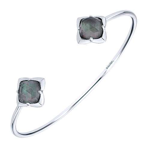 925 Silver Rock Crystal & Black Pearl Bangle angle 2