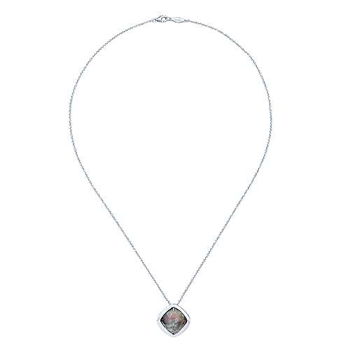 925 Silver Rock Crystal & Black Pearl Fashion Necklace angle 2