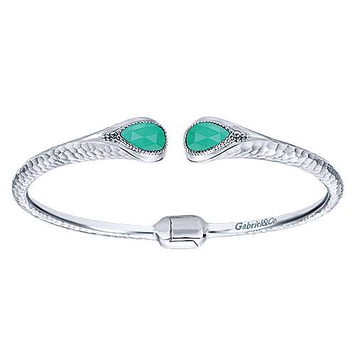 925 Silver Rock Crystal & Green Onyx Bangle