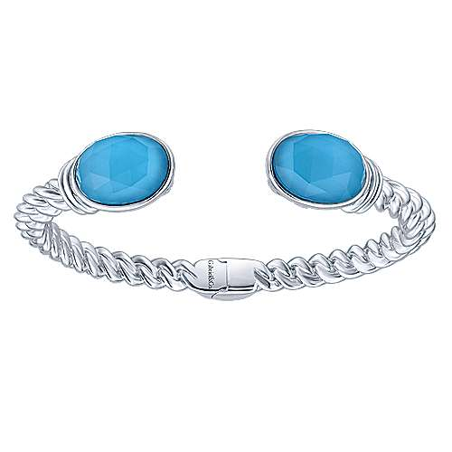 925 Silver Rock Crystal&turquoise Bangle angle 1
