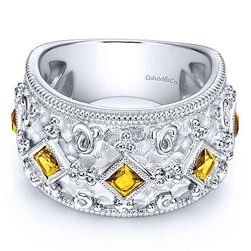 Gabriel - 925 Silver Roman Wide Band Ladies' Ring