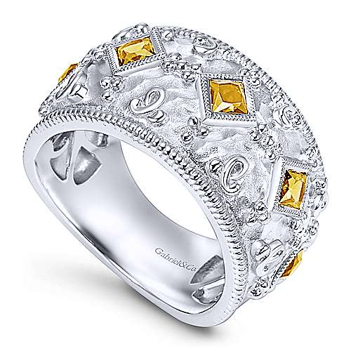 925 Silver Roman Wide Band Ladies' Ring angle 3