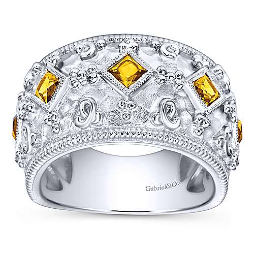 925 Silver Roman Wide Band Ladies' Ring angle 4