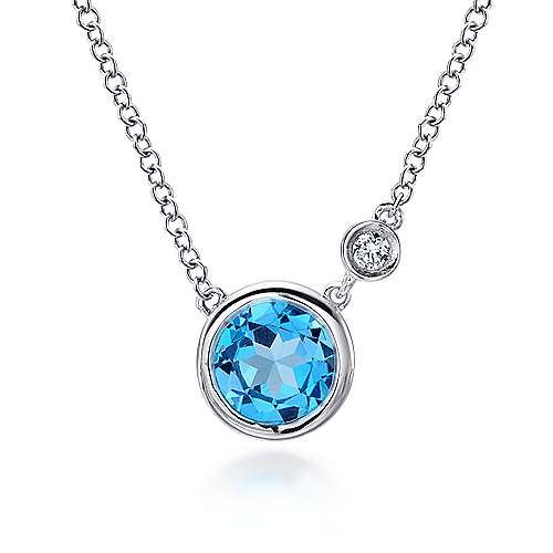 Gabriel - 925 Silver Round Fashion Swiss Blue Topaz Necklace