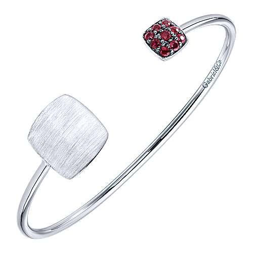925 Silver Ruby Engravable Bangle angle 2