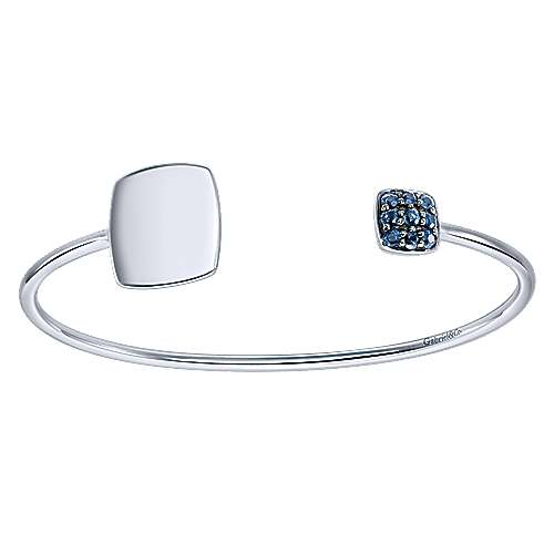 925 Silver Sapphire Engravable Bangle angle 1