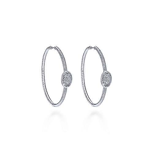 925 Silver Scalloped Classic Hoop Earrings