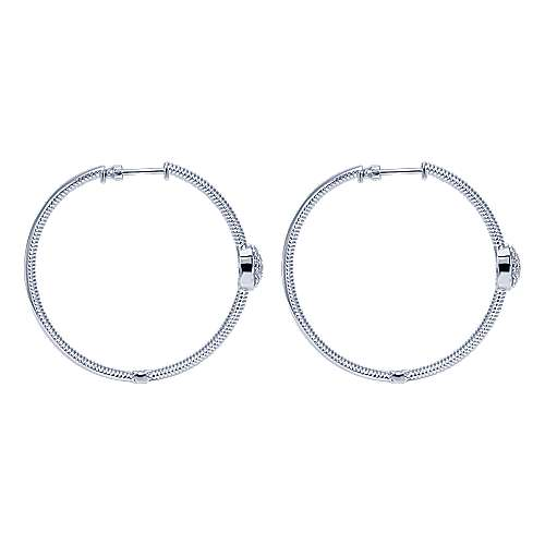 925 Silver Scalloped Classic Hoop Earrings angle 3