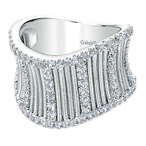 Gabriel - 925 Silver Scalloped Fashion Ladies' Ring