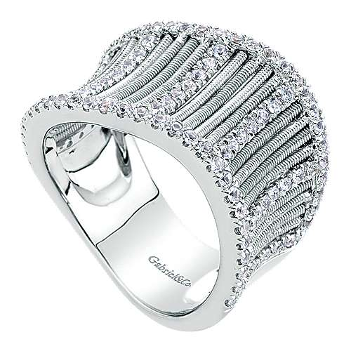 925 Silver Scalloped Fashion Ladies' Ring angle 3