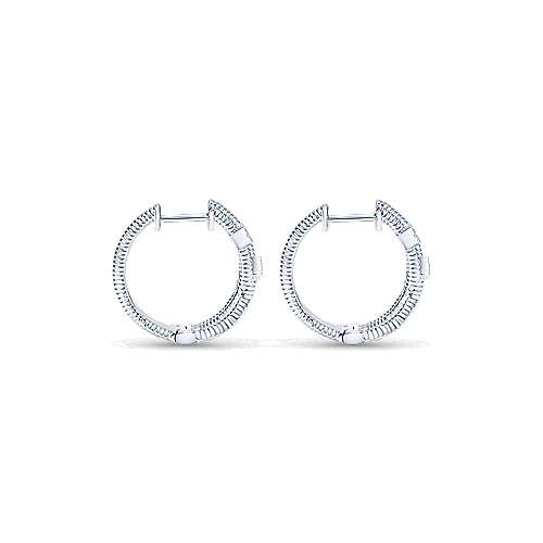 925 Silver Scalloped Huggie Earrings angle 2