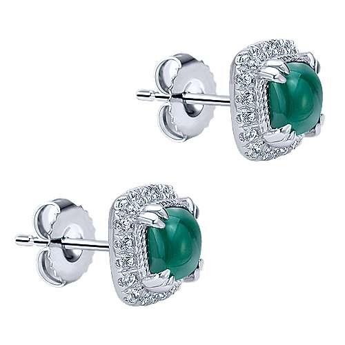 925 Silver Scalloped Stud Earrings angle 2