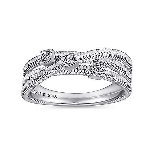 925 Silver Scalloped Wide Band Ladies