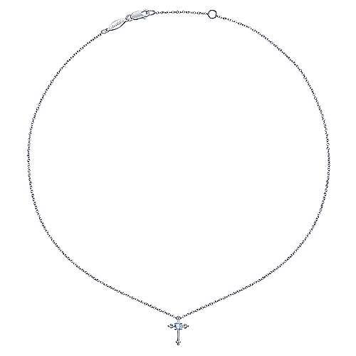 925 Silver Secret Garden Cross Necklace angle 2